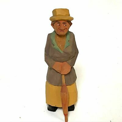 Vintage Folk Art Wood Carving of a Old Lady With Her Umbrella