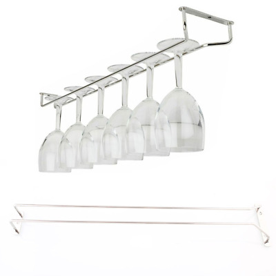 "55cm/21"" Wine Glass Rack Under Cabinet Hanging Stemware Holder Hanger Shelf Bar"
