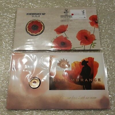 2012 $2 'C' Mintmark Remembrance Day Red Poppy & 2011 $5 RED POPPY 11/11/11 PNC