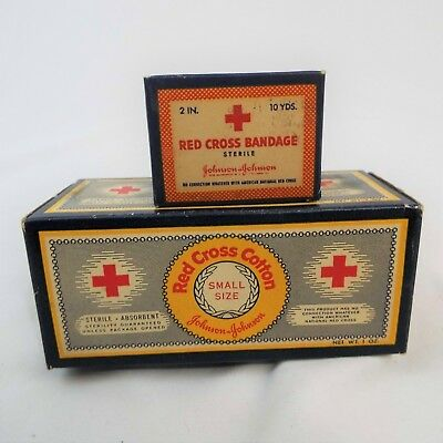 Lot of two Vintage Red Cross Bandages In Antique Box JOHNSON & JOHNSON