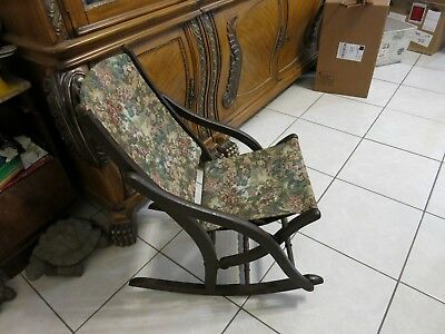 Antique Vintage Floral Tapestry Folding Solid Wood Child's Design Rocking Chair