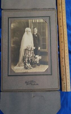 1920s Antique Cabinet Card Stunning Vintage Wedding photo VERY BEAUTIFUL PICTURE