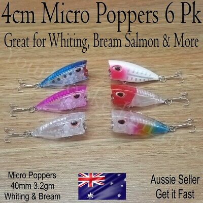 6 x WHITING POPPER FISHING LURES HARD BODY 40MM POPPERS BREAM FLATHEAD TOPWATER