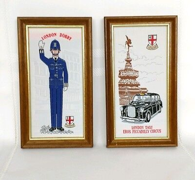 Set Cash's of Coventry England London Taxi Bobby Sewn Knitted Framed Pictures