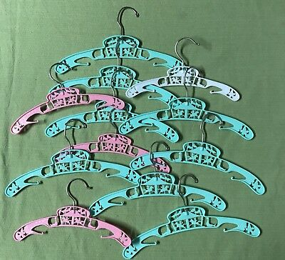 Vintage Plastic Baby Child's Clothes Hangers 12  Circus Green Pink And White
