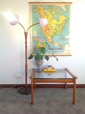 Vintage RETRO Double GOOSE Neck FLOOR Standing LAMP Timber