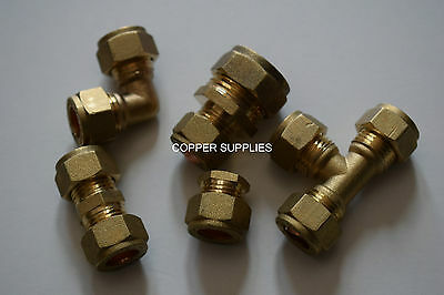 4,6, 8, 10, 12, 15mm Brass Compression Fittings-Straight Elbow ,tee,reduce