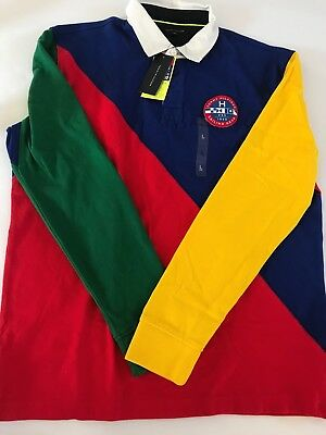 f969cd36ee5 Mens Tommy Hilfiger Sailing Gear Colorblock Long Sleeve Rugby Polo S M L XL  3XL