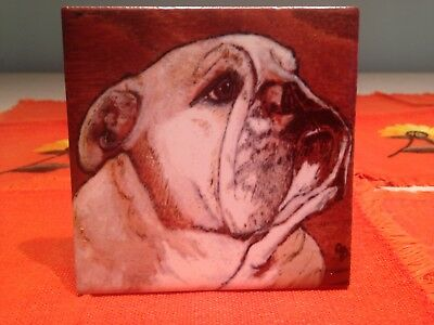 Ceramic Tile Original Art English Bulldog Dog Painting Wall Desktop New
