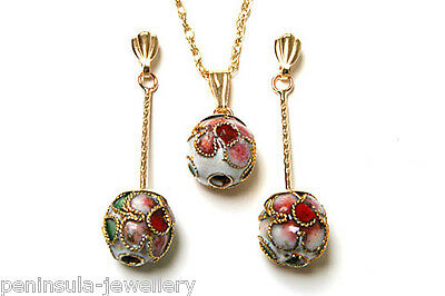 9ct Gold Chinese Ball Pendant and Earring Set Gift Boxed Made in UK