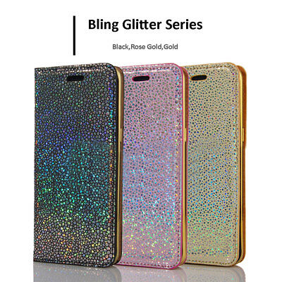 Bling Glitter Magnetic Flip Leather Wallet Slim Case Cover For iPhone XS 8 7 6 5