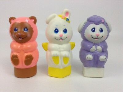 Lot (3) Vintage 1984 Rattle Shaker Bear Bunny Sheep Boat Toy Shape Figures