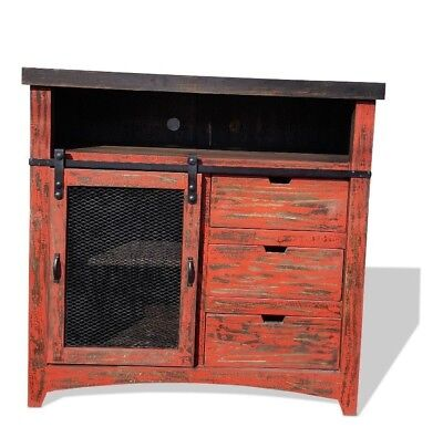 50 Inch Barn Door Style Tv Stand Rustic Rough Cut Red Finish No