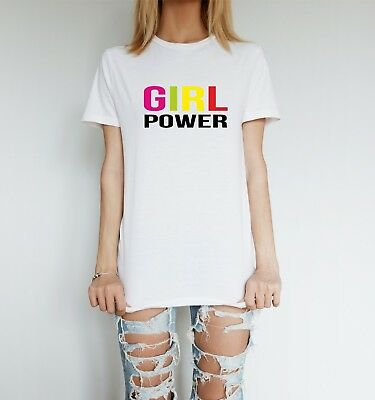 GIRL POWER t shirt spice slogan  fashion top girls grlpwr colour fan gig album