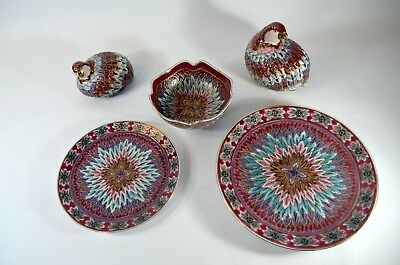 Vintage Toyo Hand Painted Quails Partridges Ceramic Plates And Bowl Textured