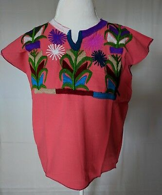 Coral Embroidered Mexican Blouse with Flowers Women Size M