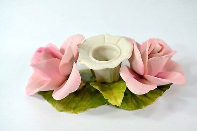 Vintage Napoleon Capodimonte Pink Rose Candle Holder Made in Italy