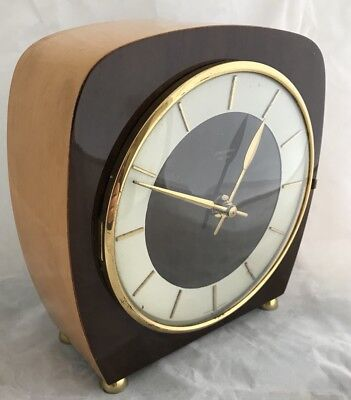 Junghans aTo MAT Mantle Clock 50's Mid Century Design Lucite And Brass