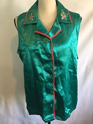 Cinema Etoile Womens Size 1X Pajama Top Green Satin Plus Floral Embroidered A