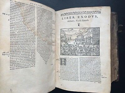 1558 Holy Bible Rare Renaissance Jean Tournes 198 Woodcuts Old Decorated Boards
