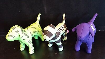 Lot of 3 Victoria's Secret PINK Dogs - 2 Green & 1 Purple - FREE SHIPPING