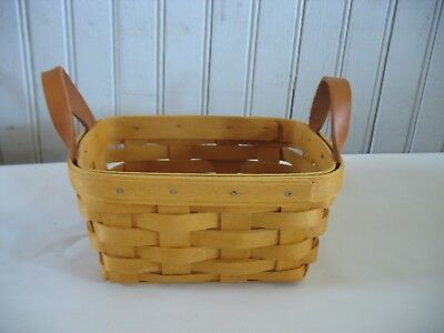 "Vtg Longaberger small Basket 7"" by 5"" Signed 1998 with leather handles OHIO"