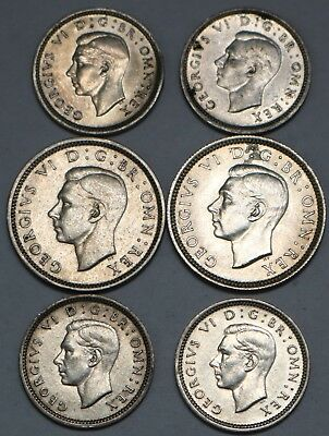 Great Britain Silver Lot 3 & 6 Pence 1938-43 Free Shipping