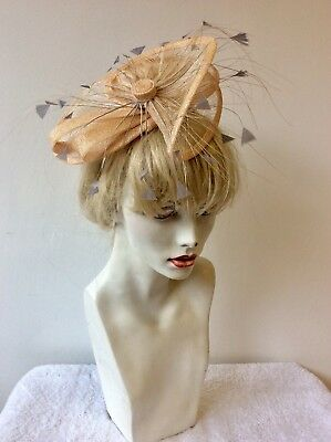 Hare And The Hat Bespoke Millinery Pale Peach & Grey Feathers Fascinator