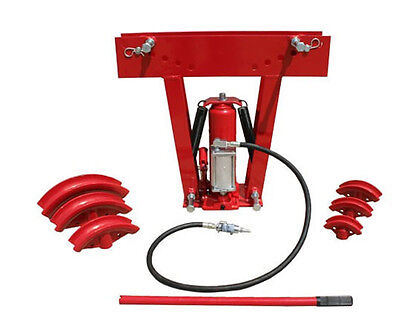 HD 12 Ton AIR / Manual Hydraulic Tube Bender Exhaust Tubing Pipe Bending 6 Dies
