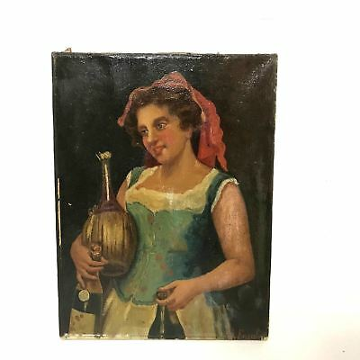 Antique 19th Century European Italian Oil On Canvas of Lady  With Wine Bottles