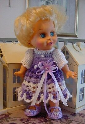"Crochet Purple & White Dress for 13"" Galoob Baby Face Dolls - By DollDarlings"