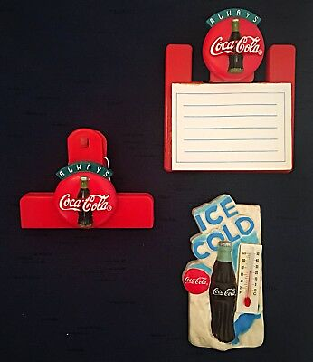 Coca Cola Fridge Magnets Lot Of 3, Notepad, Thermometer, And Chip Clip