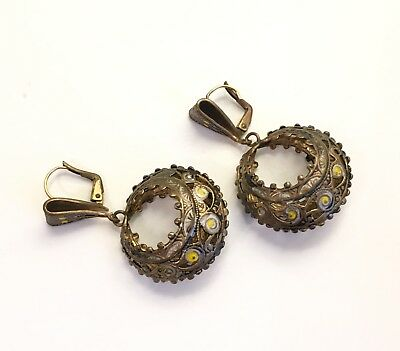 Antique Vintage Old Chinese Brass Filigree Earring Set