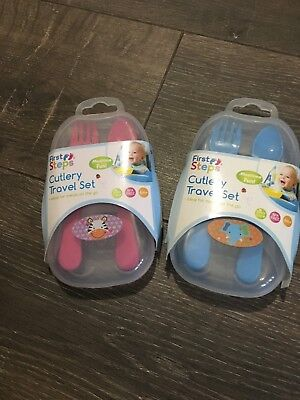 Baby Babies Cutlery set in travel pack Pink Blue plastic spoon & fork