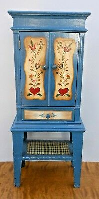Dimunitive Amish Toleware Blue Paint Decorated Cupboard - in Peter Ompir Fashion