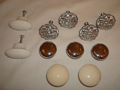 Mixed Lot of 11 Cabinet DRAWER PULLS Handles Knobs Porcelain Like Silver