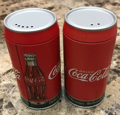 """Coca Cola Salt & Pepper Shakers Tin """"Delicious Refreshing"""""""