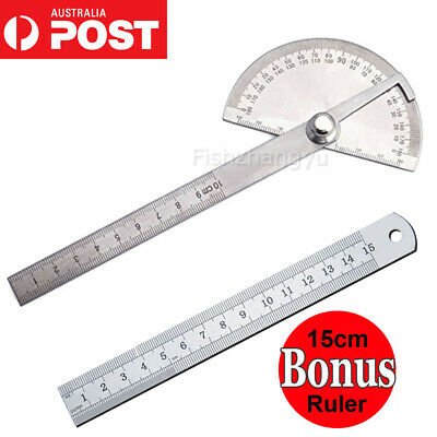Stainless Steel Round Angle Finder Ruler 180° Protractor Craftsman Ruler Tool AU