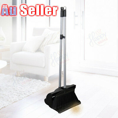 Dustpan and Brush Broom Set Long Handle Dust Pan Garden Lid Cover Black Sweep