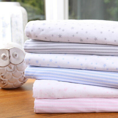 Clair de Lune 100% Cotton Fitted Sheets for Baby Moses Basket, Pram, Crib 2 Pack