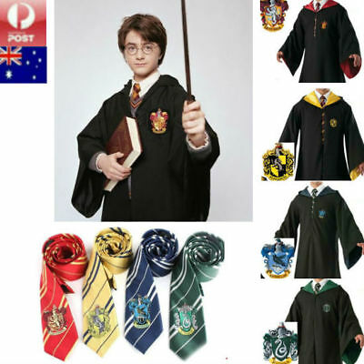 Harry Potter Adult Robe Tie Costume Cosplay Gryffindor Slytherin Hufflepuff