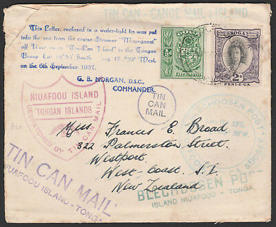 Tonga - Sept 1937 - Tin Can Mail Cover - To New Zealand - Multiple Cachet