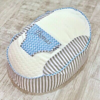 Personalised Boys Grey Stripe And Blue ZigZag Pre Filled Baby Bean Bag