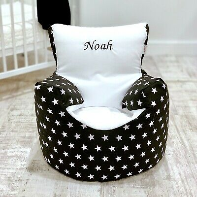 Childrens Kids Toddler Pre Filled Personalised Bean Bag Chair Seat Girls Boys
