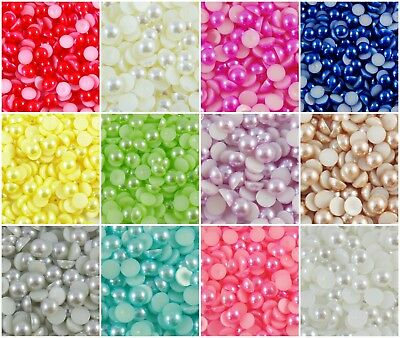Assorted Flat Back Pearls - Mixed Embellishments for Nails Cards Wedding Crafts