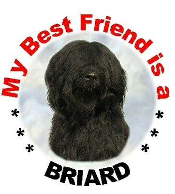 """Briard (Black) Dog - Pack of 2 Car Stickers """"My Best Friend is.."""" - By Starprint"""