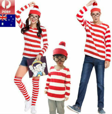 Mens Womens Wheres Wally Costume Dress Outfit Adults Fancy Party Halloween