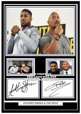 208. anthony joshua & the rock  boxing signed a4 photograph reprint great gift