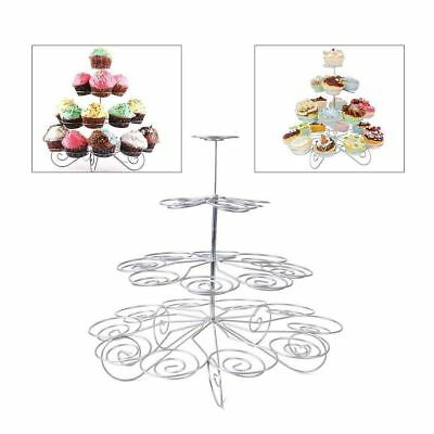 New 3, 4 Or 5 Tier Cupcake Birthday Party Silver Stand Cake Holder Decoration