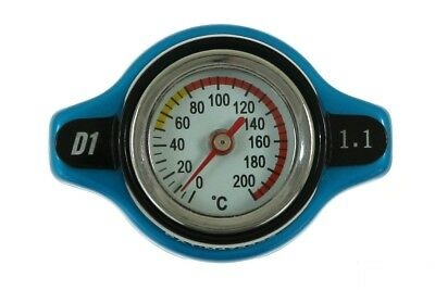Radiator cap with thermometer Kühlerdeckel mit Thermometer 15mm 1.1Bar Blue
